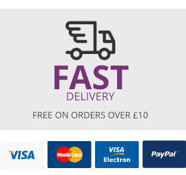 Free delivery over £10, all cards and paypal accepted